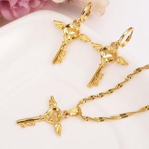 Moda collana orecchino set regalo del partito delle donne Solid fine oro GF modello chiave ala collana orecchini set di gioielli ragazze