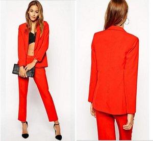 2018 Ocasião Prom Evening Red 2 Peça Set Mulheres Calças Elegantes Ternos Das Senhoras Ternos de Negócios Pant Ternos Formais Do Escritório