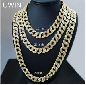 clásico collar lleno de diamantes 18 pulgadas 20 pulgadas 24 pulgadas 30 pulgadas Bling collar de la joyería para los hombres Iced Out Miami Curb Cuban Link Chain