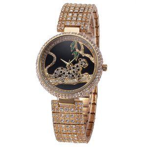 Luxury Leopard Waterproof Feminino Diamond Stainless Relogio Rhinestone Watch Dourado Bu Steel Full Women Horloge Dames Ggadt