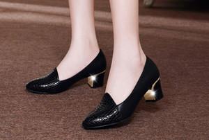 libre envía calientes 2018 primavera y el otoño período de tacón Medio solos zapatos de tacón mujer coreana grueso extremo puntiagudo zapatos de la boca baja del nuevo estilo
