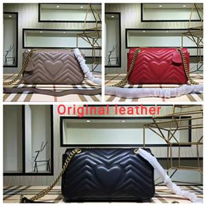 Envío gratis Marmont bolso de Lujo Bolsos de alta calidad Famosas Marcas Diseñador Bolsos de las mujeres bolsos de Cuero Genuino Bolsos de Hombro Tres tamaño