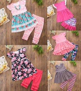 INS nouvelle robe de fille définie costumes enfants fleurs robe imprimée dépouillée + pantalon court fille 2 pièces ensembles fille volant robe sans manches vêtements