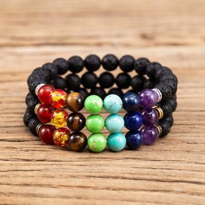 7 chakren 8mm schwarz lava stein armband diy aromatherapie ätherisches öl diffusor armband buddha mala yoga schmuck