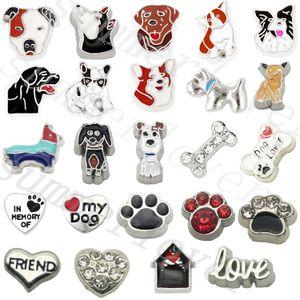 24 pcs Amor meu cão Paw Osso flutuante encantos Para memória charme medalhão Presente Do Amante Do Cão