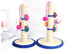 Creative Pet Cat Sisal Column Toys Funny Interactive Cat Toy Cat Scratch Board With Ball Clown Shape Round Bottom