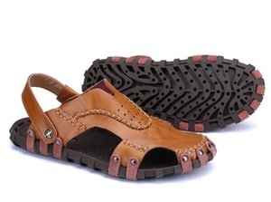 High quality Men sandals Outdoor male Genuine leather Shoes Summer Men Slippers Breathable Sandalias size 38-44
