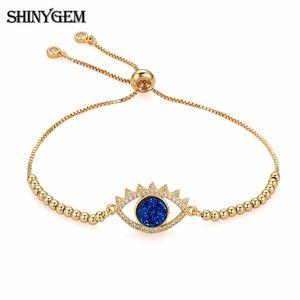 ShinyGem Big Eye Charm Bracelets Full Strand Plating 24 K oro Multi colores naturales Druzy nueva moda mujer pulsera 2018
