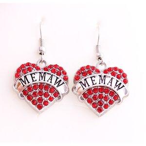 Boucles d'oreilles pour femmes Good Wors écrit en coeur pendentif MEMAW sentiment romantique et beaux cristaux alliage de Zinc Dropshipping