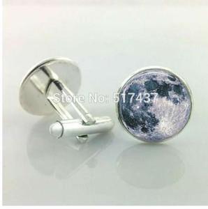 1 para Neue Mode Vollmond Manschettenknöpfe Mond schmuck Raum Galaxy Grau Mond glas manschettenknöpfe manschettenknöpfe männer