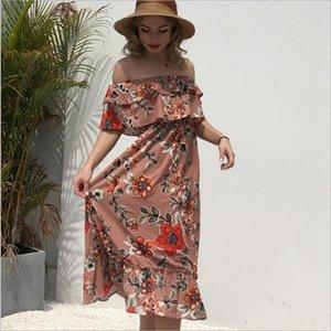 Diseñador de moda Ruffled Flora Printed Dresses Última colección Wear Summer Casual Women Long Dresses Venta caliente
