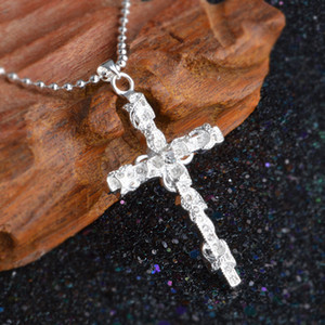 Collar de plata chapado joyería de las mujeres de moda de la boda Cruz CZ cristal Zircon piedra colgante collar regalo de Navidad