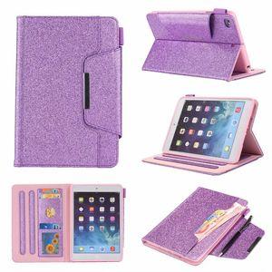 Cartera con cuero para Mini iPad 1 2 3,4, Ipad 2 3 4 5 6 2 Aire 9.7 '', 2017 2018 de la PU de lujo de Bling Tarjeta de la chispa del brillo bolsa de la piel de la cubierta