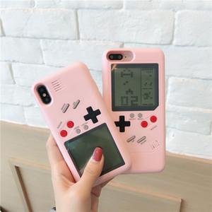 테트리스 소녀 게임 기계 전화 케이스 아이폰 6 6s 7 플러스 X 휴대 전화 전자 PC 하드 쉘 보호 장착 된 뒤 표지