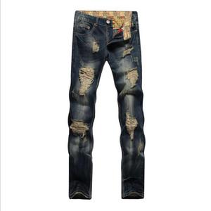 2018 Mens Rasgado Skinny Em Linha Reta Magro Elástico Denim Fit Motociclista Jeans Calças Calças Compridas Elegantes Em Linha Reta Slim Fit calças de Brim dos homens dos homens