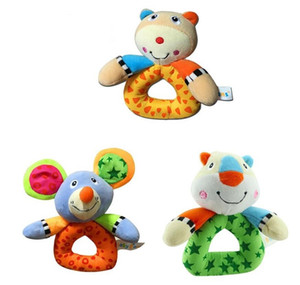 Bebê animal tigre rato urso modelo catoon forma brinquedos mão suave sino anel chocalhos miúdo brinquedo de pelúcia