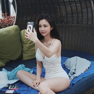 Costume da bagno sexy da donna in crochet con balze in pizzo e bikini lavorato a maglia