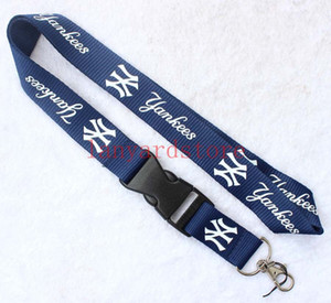 Новый бесплатная доставка 10 шт. глубокий синий/белый узоры Бейсбол логотип / шеи талреп, талреп брелок / мобильный телефон