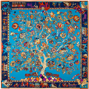 Площадь дерева Цветочные печати Шарф Женщины Платки Платки Femme Синий Большой саржевого шелковый Платки Dropshipping 130 * 130см