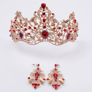Cristal vermelho e verde escuro na coroa de ouro elegante cabelo nupcial acessórios com brincos princesa coroa vintage meninas headpieces