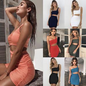 Nuova estate Dress Sexy Dress Donne Night Out Dress Club Dress One Spalla BodyCon Guaina Abiti Partito Vestidos Personalizzazione del colore