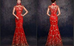 높은 목 빨간색 자수 Phenix Qipao 인어 이브닝 가운 긴 Qipao Cheongsam 중국어 번체 복장 물고기 꼬리 맞춤 제작 D02