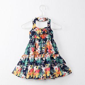 Neonate Flower print dress bambini suspender Floral princess dresses summer 2018 Boutique kids Clothes 2 colori C3991