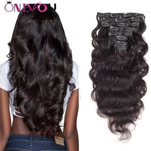 Peruviana Vergine Body Wave Natura Clip nera nelle estensioni dei capelli umani 8pcs Testa piena Non trattata dritta Clip di capelli umani nelle estensioni 1B