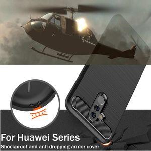 Cas de téléphone blindé antichoc pour Huawei Y5 Y6 Y7 2018 ATU-LX3 DRA-L22 Profitez de 7S FIG-AL10 matériau de dessin en fibre de carbone TPU Coques de protection pour téléphone