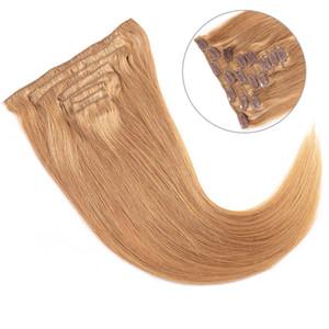 Glary 기계 Remy 스트레이트 확장 만든 100G 120G 100 % 인간의 머리카락 전체 머리에 브라질 버진 인간의 머리카락 확장