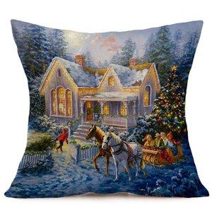 Buon Natale Lino Pillow Case Stampato Federa Cuscini Decorativi Per Divano Cuscino del Sedile di Copertura 45x45 cm Decorazioni Per casa