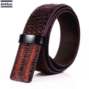 Fashion Men's Crocodile Striped Leather & PU Belt Without Buckle Designed For Smooth buckle Belt Ceinture Homme
