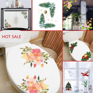 2 unids / lote Flores Aseo Wall Arts sticker Decals Pegatinas extraíbles para baño refrigerador gabinete ventana de vidrio 2018 nuevas decoraciones de Navidad