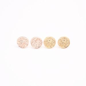 Золотистые серьги-гвоздики Lastest геометрической формы Сплошной круг серьги-гвоздики Бесплатная доставка