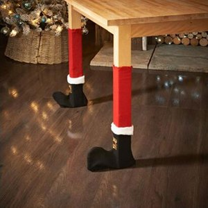 NEW Design 4pcs  Set Santa Claus Leg Chair Foot Covers Lovely Table Decor Christmas Home Decorations Funny Christmas Diy Table