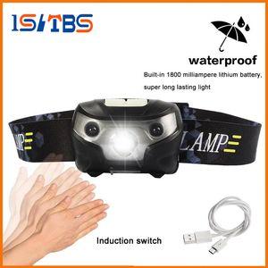 Mini recargable LED faro 4000Lm Cuerpo Sensor de movimiento Linterna Camping Linterna Cabeza Luz Antorcha Lámpara con USB