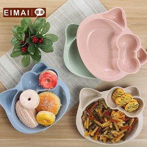 Детское питание Блюда Healthy пшеничной соломы Материал Kid Посуда Тарелка биоразлагаемые Зеленый продукт Симпатичные дети Чаша 1 шт Aa02