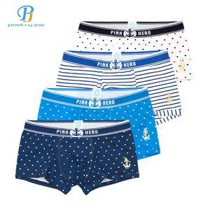 Pink Heroes 4pcs lot Mens Underwear Boxers Polka Dot Print Underwear Men Boxer Sexy Cotton Couple Stripe Men shorts