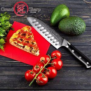 Santokumesser 5 Zoll vg10 Japanisches Damaststahl-Küchenmesser 67 Schichten kohlenstoffhaltiger Edelstahl-Chef, der Werkzeuge scharf kocht