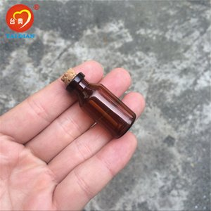 18*40*7mm 5ml Mini Brown Glass Jars with Cork Empty Tiny Glass Jars Gift 5ml Glass Bottles Vials 100pcs Free Shipping