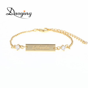 DUOYING Crystal Baby Bracelet Color Oro 25 * 6 mm Bar Personalizado Nombre Personalizado Grabado Pulsera Joyería de Regalo de Graduación para Etsy