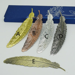Real Image Wedding Mini Metal Gold Sliver Feather BookMarks 5 Style Wedding Supplies Book Marks Wedding Guest Gifts Support Mix Pls Remard