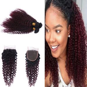 Les racines foncées 1B 99J Kinky cheveux bouclés tisse avec dentelle fermeture Ombre Couleur vin rouge 99j cheveux bouclés 3bundles avec fermeture 4x4
