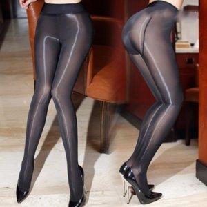2017 Nova 8D Sexy Oil brilhante Meia-calça para mulheres fechado Crotch Meias Sheer suavemente Tecido ver através Detalhe Gloss