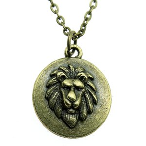 WYSIWYG 5 Pieces Metal Chain Necklaces Pendants Male Necklace Fashion Lion Head Tag 24x20mm N2-A12701