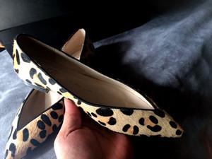Плоская форма натуральной кожи с острым носом из натуральной кожи с леопардовым принтом из конского волоса Женская обувь секси красная