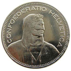 UNC 1948 Svizzera (Confederazione) Argento 5 Franchi (5 Franken) Ottone nichelato Copia Diametro moneta: 31,45 mm