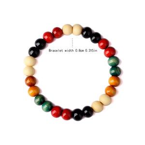 Grano colorido Charm Bracelet para hombres mujeres cuentas de madera pulseras hiphop brazalete para mujer para hombre brazaletes joyería de Hip Hop regalo de Navidad