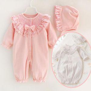 Primavera Outono recém-nascido infantil bebê menina romper rendas floral macacão ternos macacão longo dormir roupas de bebê com capuz 0-12months