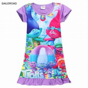 Nueva caricatura 2017 Summer Trolls vestido de las muchachas del bebé de los niños vestido de manga corta de los niños de la muchacha vestido de fiesta vestido vestido SAILEROAD
